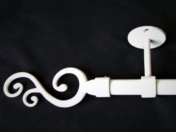 19mm Gloss White Ceiling Eyelet Curtain Pole with Swirl Finials 1.2m 1.5m 2.4m 3m